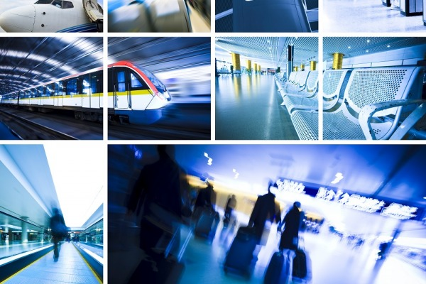 business travel background about train and airplane,the concept about passenger traveling.